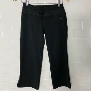 ADIDAS Cropped Black Drawstring Capri Yoga Pants